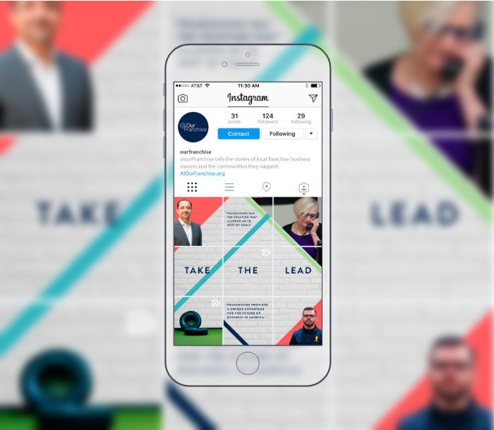 Mobile phone showing @OurFranchise Instagram profile.