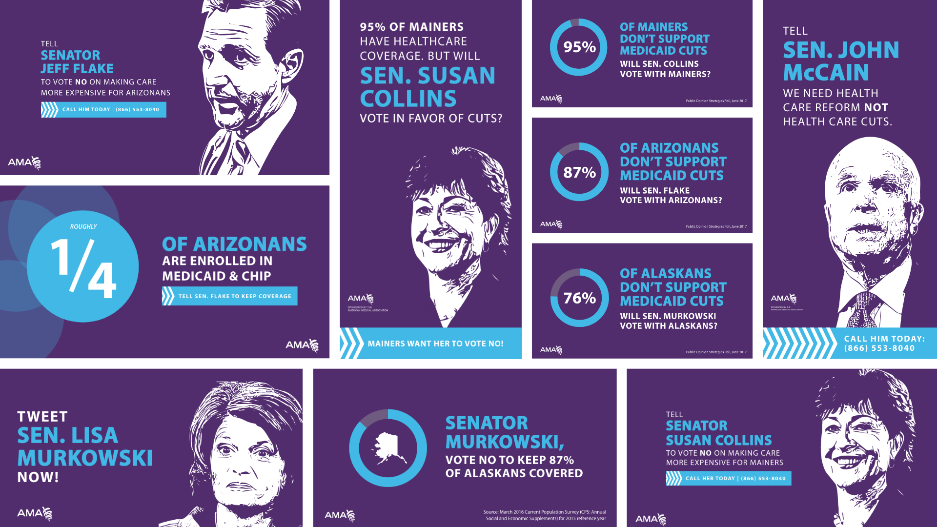 Ads with illustrations of Senator Jeff Flake, Susan Collins, John McCain and Lisa Murkowski from left to right encouraging them to vote no on the repeal of the Affordable Care Act.