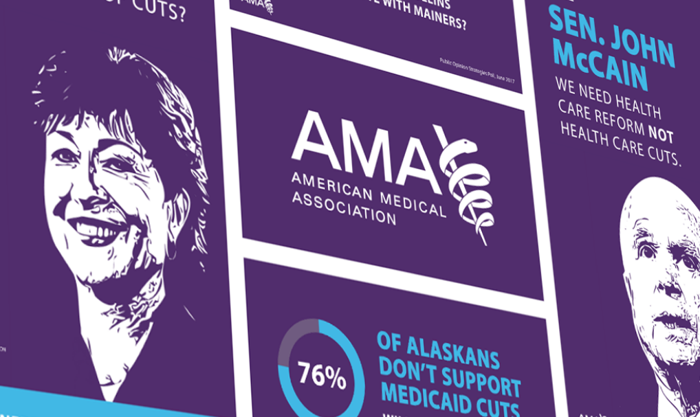 American Medical Association logo and illustrations of Senator John McCain