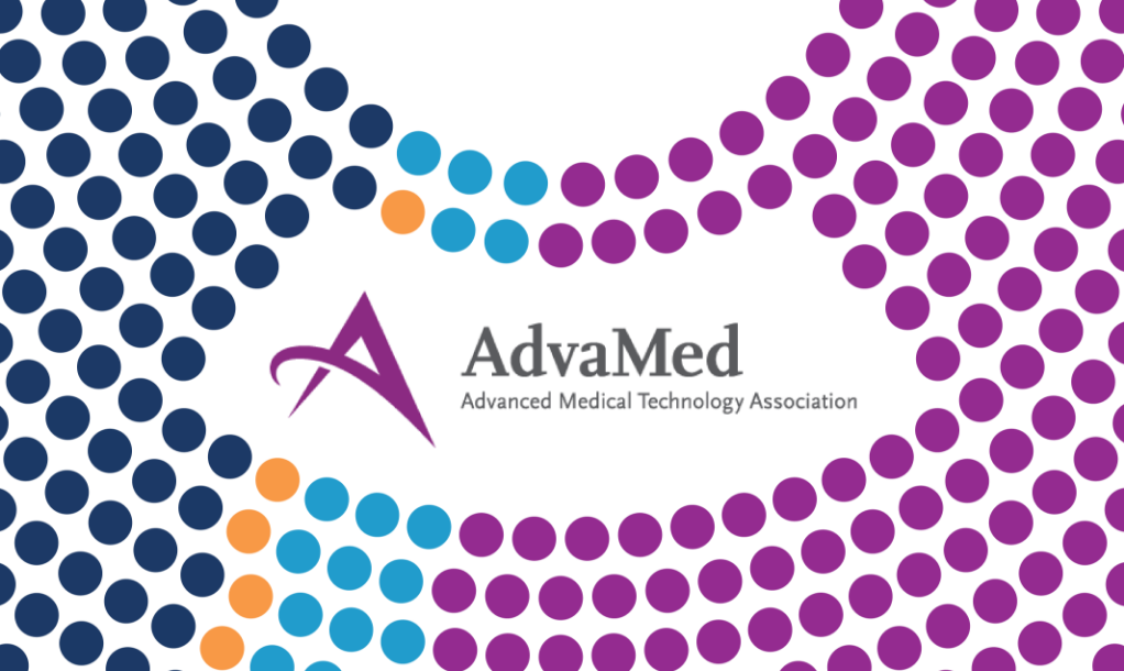 AdvaMed logo with mapping tool in the background